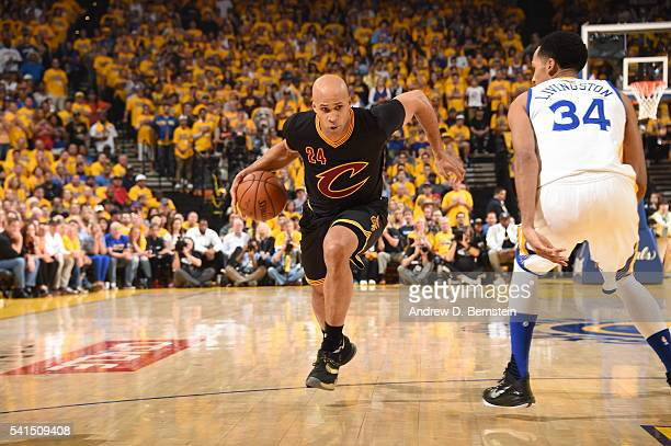 Richard Jefferson of the Cleveland Cavaliers handles the ball against the Golden State Warriors in Game Seven of the 2016 NBA Finals on June 19 2016...