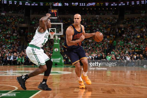 Richard Jefferson of the Cleveland Cavaliers handles the ball against the Boston Celtics in Game Five of the Eastern Conference Finals of the 2017...