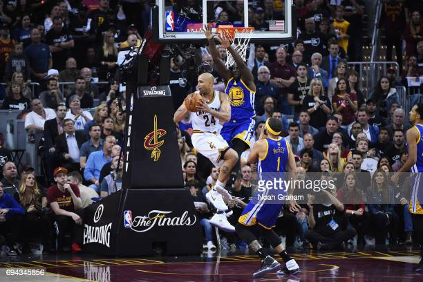 Richard Jefferson of the Cleveland Cavaliers handles the ball against the Golden State Warriors in Game Four of the 2017 NBA Finals on June 9 2017 at...