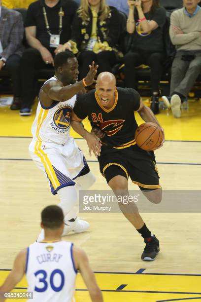 Richard Jefferson of the Cleveland Cavaliers handles the ball against the Golden State Warriors in Game Five of the 2017 NBA Finals on June 12 2017...