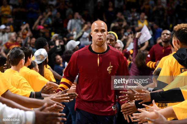Richard Jefferson of the Cleveland Cavaliers heads out to the court before the game against the Denver Nuggets on March 22 2017 at the Pepsi Center...