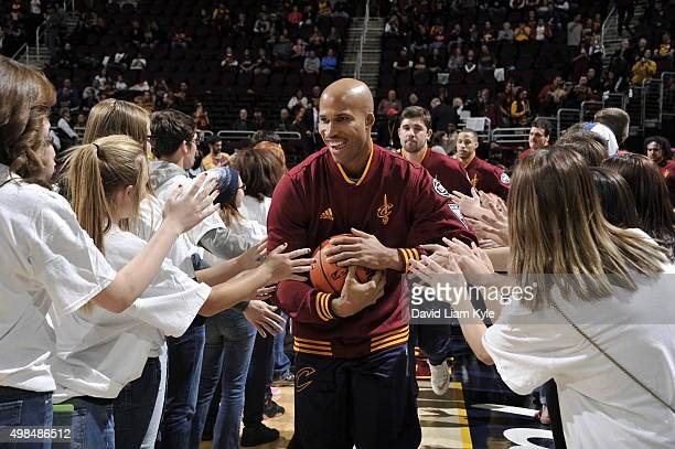 Richard Jefferson of the Cleveland Cavaliers is introduced before the game against the Orlando Magic on November 23 2015 at Quicken Loans Arena in...