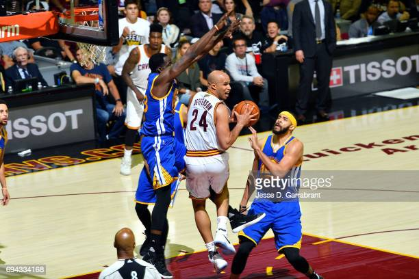 Richard Jefferson of the Cleveland Cavaliers looks to pass the ball during the game against the Golden State Warriors in Game Four of the 2017 NBA...