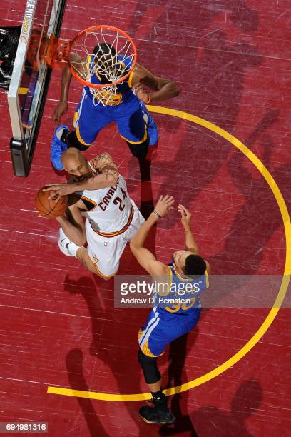 Richard Jefferson of the Cleveland Cavaliers looks to pass the ball against the Golden State Warriors in Game Four of the 2017 NBA Finals on June 9...