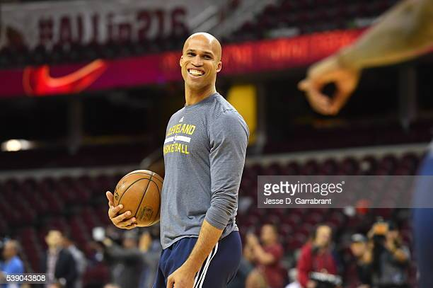 Richard Jefferson of the Cleveland Cavaliers participates during practice and media availability as part of the 2016 NBA Finals on June 7 2016 at...