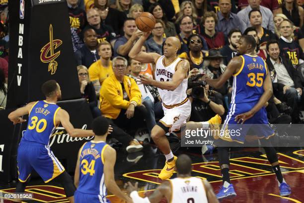 Richard Jefferson of the Cleveland Cavaliers passes the ball against the Golden State Warriors in Game Three of the 2017 NBA Finals on June 7 2017 at...