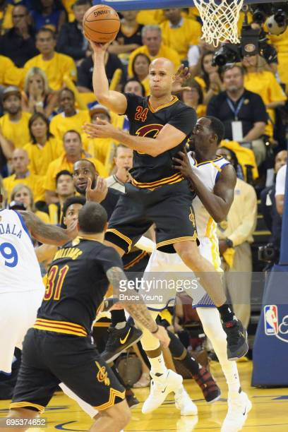 Richard Jefferson of the Cleveland Cavaliers passes the ball against the Golden State Warriors in Game Five of the 2017 NBA Finals on June 12 2017 at...