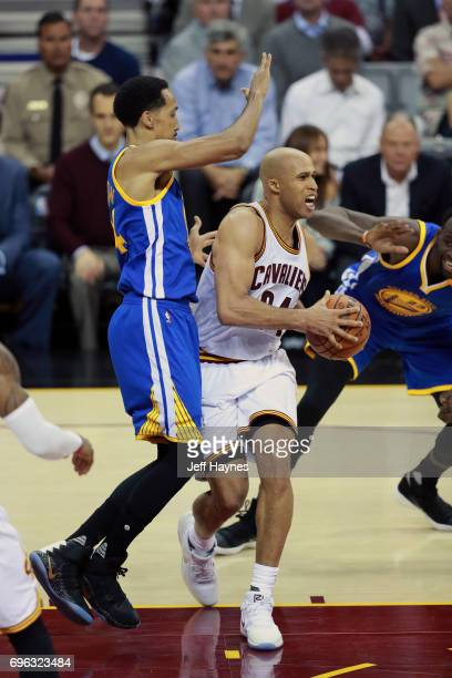 Richard Jefferson of the Cleveland Cavaliers passes the ball against the Golden State Warriors in Game Four of the 2017 NBA Finals on June 9 2017 at...