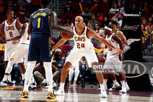 Richard Jefferson of the Cleveland Cavaliers plays defense during the preseason game against the Indiana Pacers on October 6 2017 at Quicken Loans...