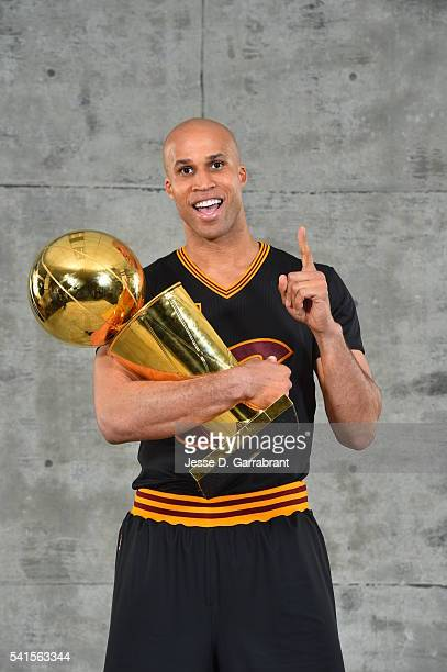 Richard Jefferson of the Cleveland Cavaliers poses for a portrait after winning the NBA Championship against the Golden State Warriors during the...