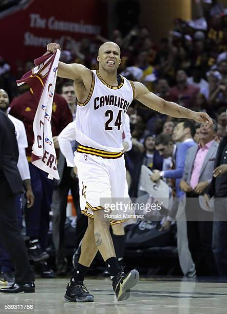 Richard Jefferson of the Cleveland Cavaliers reacts during the first half against the Golden State Warriors in Game 4 of the 2016 NBA Finals at...
