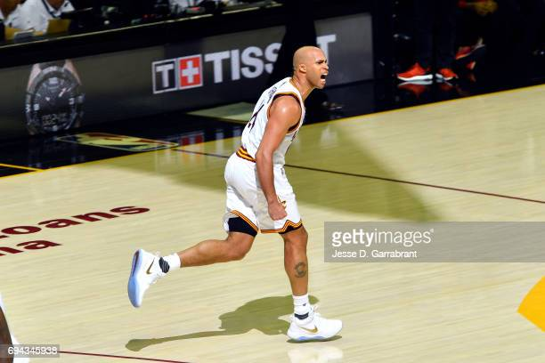 Richard Jefferson of the Cleveland Cavaliers reacts during the game against the Golden State Warriors in Game Four of the 2017 NBA Finals on June 9...