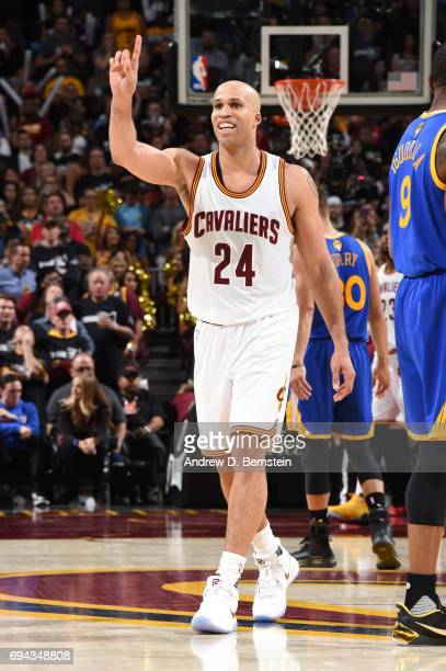 Richard Jefferson of the Cleveland Cavaliers reacts to a play in Game Four of the 2017 NBA Finals on June 9 2017 at Quicken Loans Arena in Cleveland...