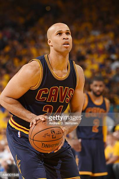 Richard Jefferson of the Cleveland Cavaliers shoots a free throw against the Golden State Warriors in Game Two of the 2016 NBA Finals on June 5 2016...