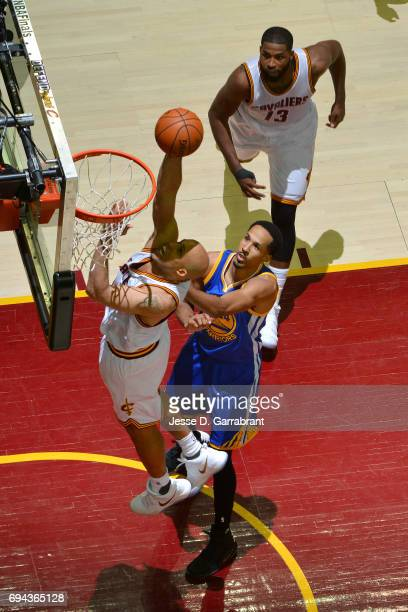 Richard Jefferson of the Cleveland Cavaliers shoots a lay up during the game against the Golden State Warriors in Game Four of the 2017 NBA Finals on...