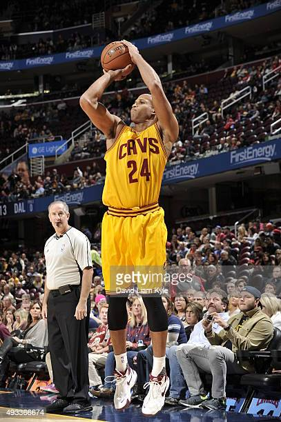Richard Jefferson of the Cleveland Cavaliers shoots against the Dallas Mavericks on October 19 2015 at Quicken Loans Arena in Cleveland Ohio NOTE TO...