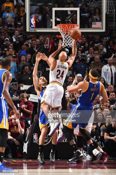 Richard Jefferson of the Cleveland Cavaliers shoots the ball against the Golden State Warriors in Game Four of the 2017 NBA Finals on June 9 2017 at...