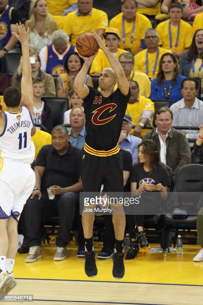 Richard Jefferson of the Cleveland Cavaliers shoots the ball against the Golden State Warriors in Game Five of the 2017 NBA Finals on June 12 2017 at...