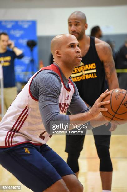 Richard Jefferson of the Cleveland Cavaliers shoots the ball during practice and media availability as part of the 2017 NBA Finals on June 11 2017 at...