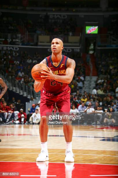 Richard Jefferson of the Cleveland Cavaliers shoots the ball during the preseason game against the Washington Wizards on October 8 2017 at Capital...