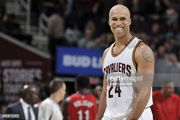 Richard Jefferson of the Cleveland Cavaliers smiles during the game against the New Orleans Pelicans on January 2 2017 at Quicken Loans Arena in...