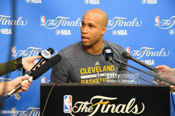 Richard Jefferson of the Cleveland Cavaliers talks to the media at practice and media availability as part of the 2017 NBA Finals on June 11 2017 at...