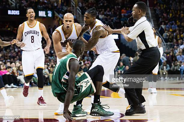 Richard Jefferson of the Cleveland Cavaliers yells at Thon Maker of the Milwaukee Bucks after the two collided during the second half at Quicken...