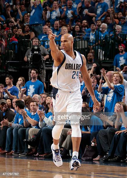 Richard Jefferson of the Dallas Mavericks celebrates a made bucket against the Houston Rockets during Game Four of the Western Conference...