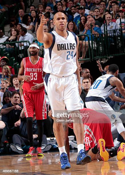 Richard Jefferson of the Dallas Mavericks celebrates against the Houston Rockets on April 2 2015 at the American Airlines Center in Dallas Texas NOTE...