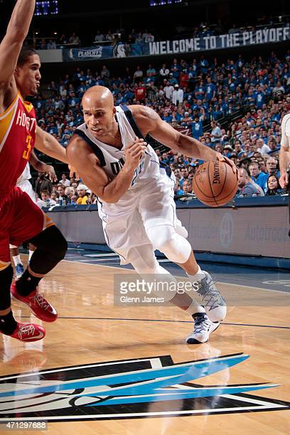 Richard Jefferson of the Dallas Mavericks drives against the Houston Rockets during Game Four of the Western Conference Quarterfinals of the 2015 NBA...