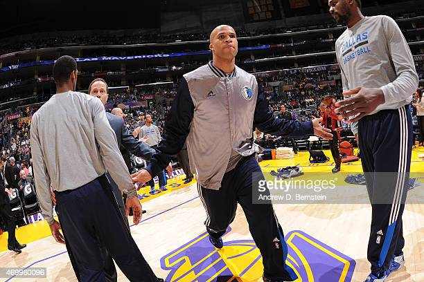 Richard Jefferson of the Dallas Mavericks gets introduced before a game against the Los Angeles Lakers at STAPLES Center on April 12 2015 in Los...