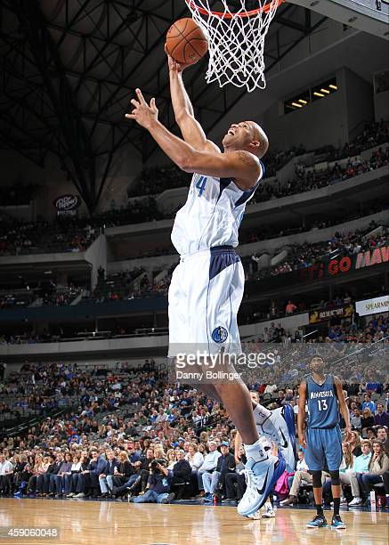 Richard Jefferson of the Dallas Mavericks goes up for the dunk against the Minnesota Timberwolves on November 15 2014 at the American Airlines Center...