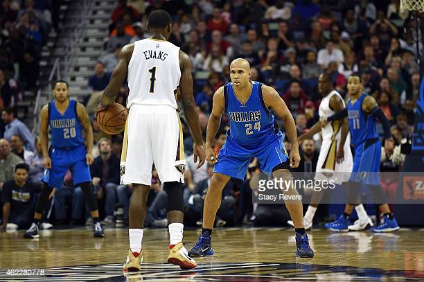 Richard Jefferson of the Dallas Mavericks guards Tyreke Evans of the New Orleans Pelicans during the second half of a game at the Smoothie King...