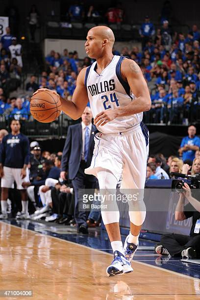 Richard Jefferson of the Dallas Mavericks handles the ball against the Houston Rockets during Game Three of the Western Conference Quarterfinals on...