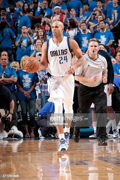 Richard Jefferson of the Dallas Mavericks handles the ball against the Houston Rockets during Game Four of the Western Conference Quarterfinals of...