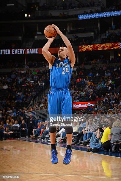 Richard Jefferson of the Dallas Mavericks shoots the ball against the Denver Nuggets on April 10 2015 at the Pepsi Center in Denver Colorado NOTE TO...