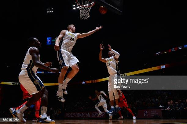 Richard Jefferson of the Denver Nuggets and Jamal Murray of the Denver Nuggets await the ball during the game against the Toronto Raptors on November...