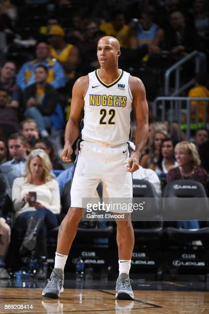 Richard Jefferson of the Denver Nuggets looks on during the game against the Toronto Raptors on November 1 2017 at the Pepsi Center in Denver...