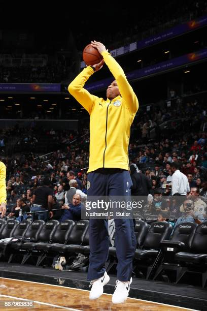 Richard Jefferson of the Denver Nuggets shoots the ball during warmups against the Brooklyn Nets on October 29 2017 at Barclays Center in Brooklyn...