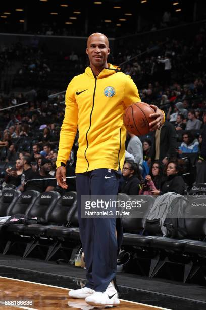 Richard Jefferson of the Denver Nuggets warms up before the game against the Brooklyn Nets on October 29 2017 at Barclays Center in Brooklyn New York...