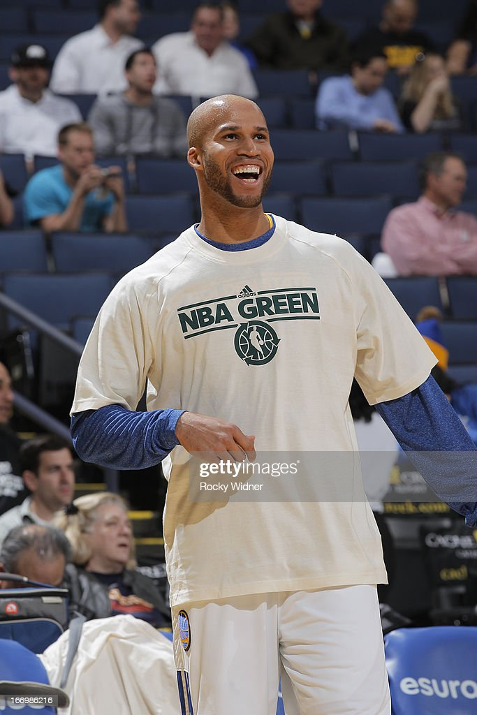 <a gi-track='captionPersonalityLinkClicked' href=/galleries/search?phrase=Richard+Jefferson&family=editorial&specificpeople=201688 ng-click='$event.stopPropagation()'>Richard Jefferson</a> #44 of the Golden State Warriors before a game against the Minnesota Timberwolves on April 9, 2013 at Oracle Arena in Oakland, California.