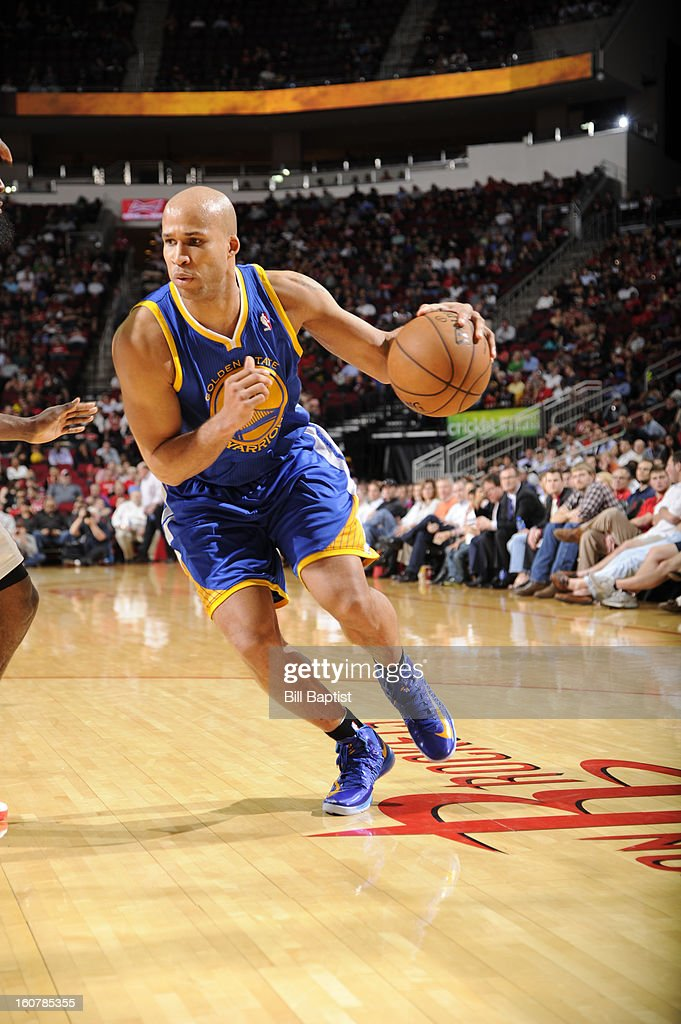 Richard Jefferson #44 of the Golden State Warriors drives to the basket against the Houston Rockets on February 5, 2013 at the Toyota Center in Houston, Texas.