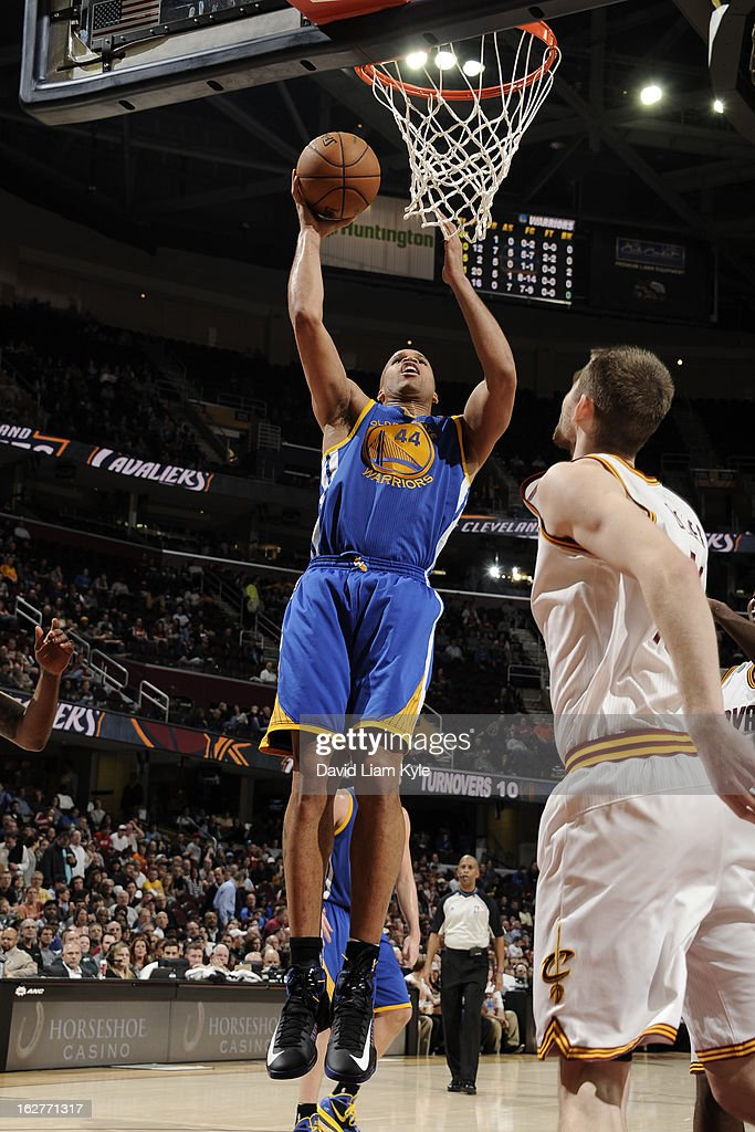 Richard Jefferson #44 of the Golden State Warriors drives to the basket against the Cleveland Cavaliers at The Quicken Loans Arena on January 29, 2013 in Cleveland, Ohio.