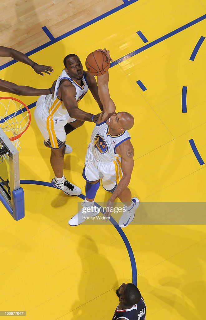 Richard Jefferson #44 of the Golden State Warriors grabs the rebound against the Atlanta Hawks on November 14, 2012 at Oracle Arena in Oakland, California.
