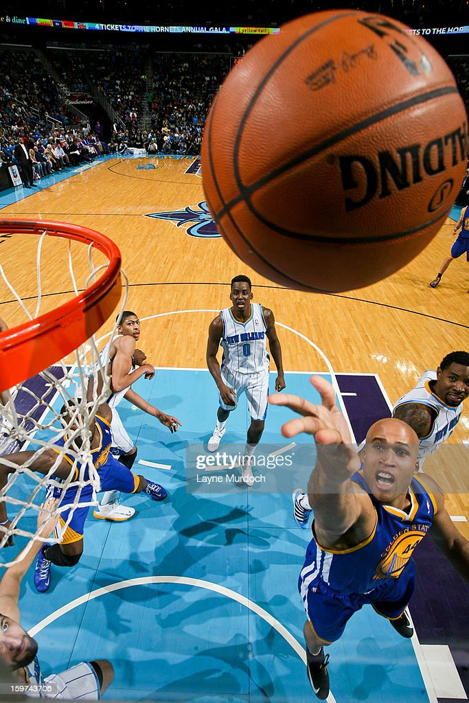 <a gi-track='captionPersonalityLinkClicked' href=/galleries/search?phrase=Richard+Jefferson&family=editorial&specificpeople=201688 ng-click='$event.stopPropagation()'>Richard Jefferson</a> #44 of the Golden State Warriors shoots a layup against the New Orleans Hornets on January 19, 2013 at the New Orleans Arena in New Orleans, Louisiana.