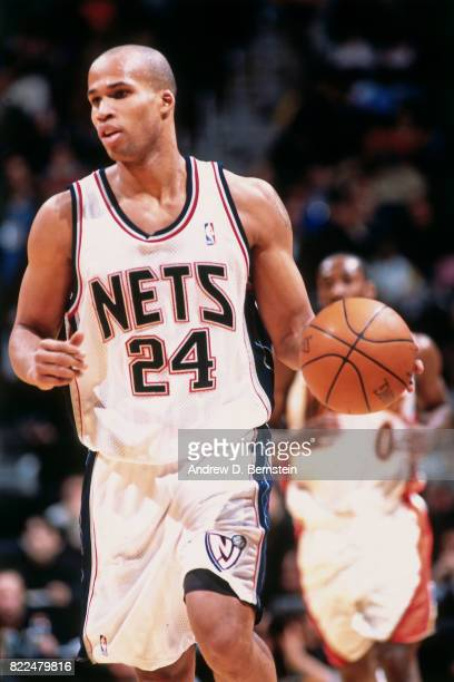 Richard Jefferson of the New Jersey Nets dribbles during the 1997 Rising Stars Challenge played February 8 2003 at the Philips Arena in Atlanta...