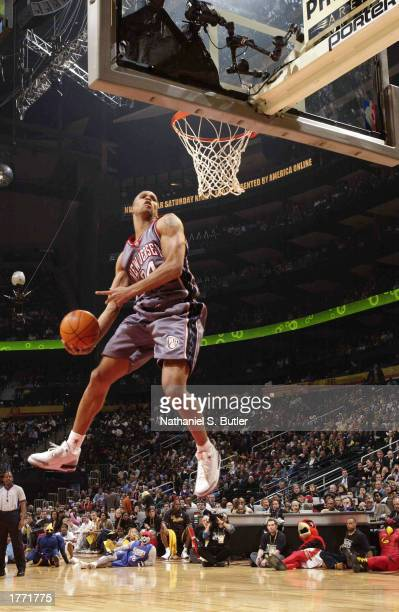 Richard Jefferson of the New Jersey Nets dunks during the Sprite Rising Stars Slam Dunk during the 2003 NBA AllStar weekend at the Philips Arena on...