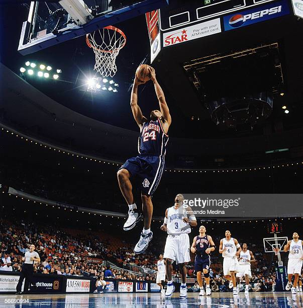 Richard Jefferson of the New Jersey Nets goes to the basket for an uncontested dunk during the game against the Orlando Magic at TD Waterhouse Centre...