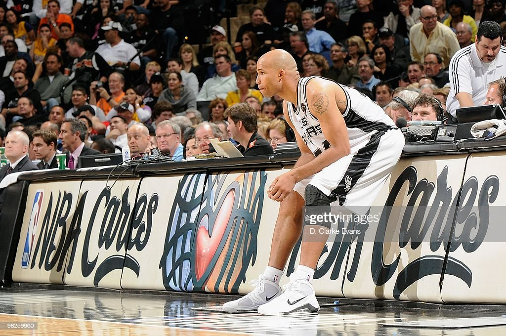 Richard Jefferson #24 of the San Antonio Spurs waits to enter the game against the Los Angeles Lakers on March 24, 2010 at the AT&T Center in San Antonio, Texas. The Lakers won 92-83.