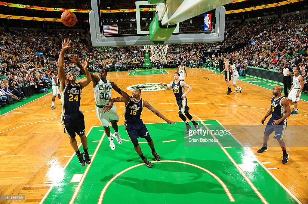 <a gi-track='captionPersonalityLinkClicked' href=/galleries/search?phrase=Richard+Jefferson&family=editorial&specificpeople=201688 ng-click='$event.stopPropagation()'>Richard Jefferson</a> #24 of the Utah Jazz attempts to rebound the ball during the game against the Boston Celtics on November 6, 2013 at the TD Garden in Boston, Massachusetts.